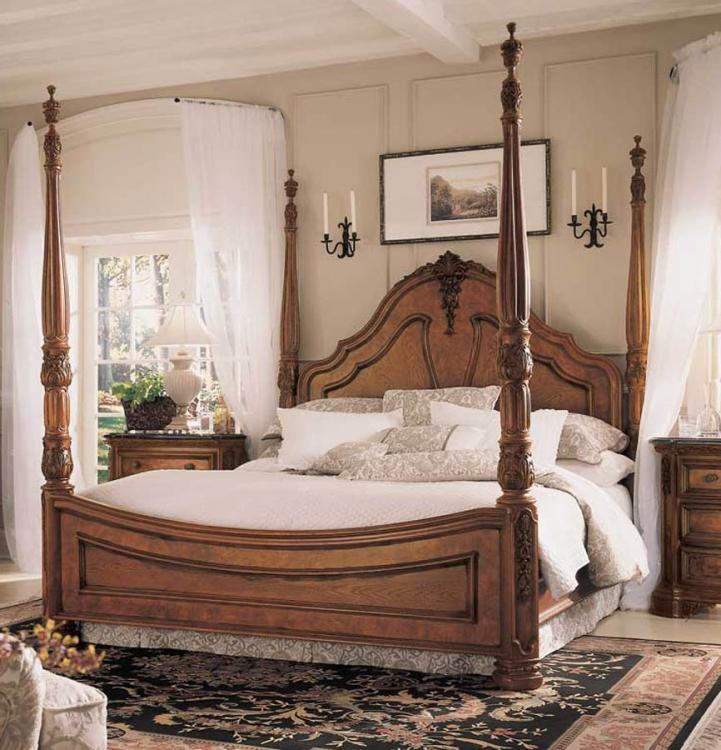 Grand Revival Dark Tiara Mansion Poster Bed