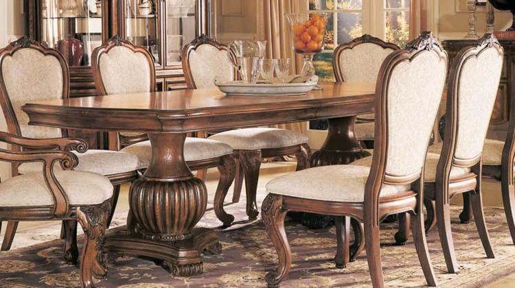 Grand Revival Dark Double Pedestal Table