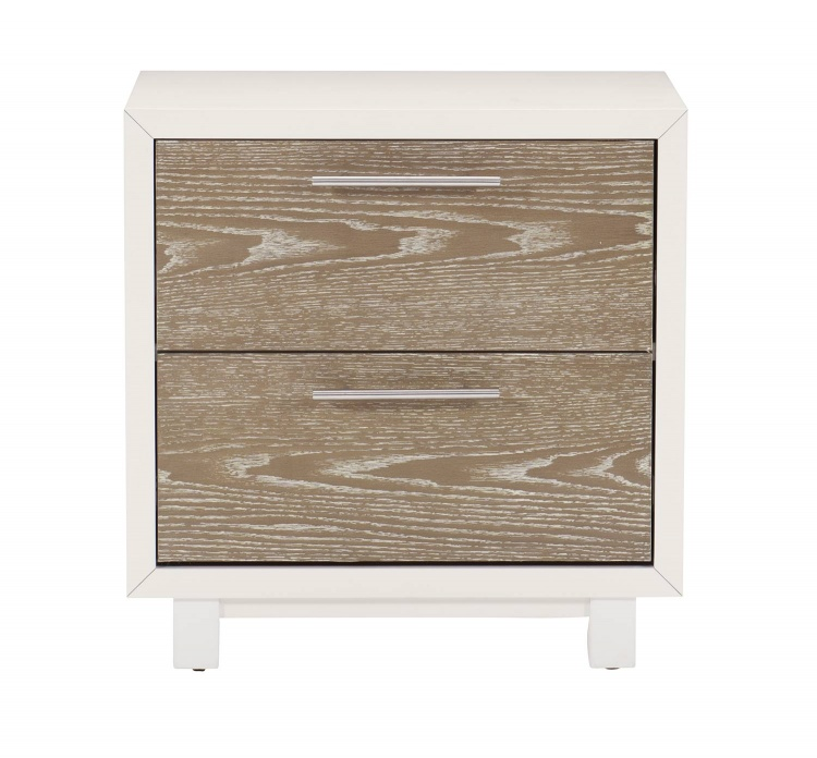 Renly Night Stand - Natural Finish of Oak Veneer with White Framing