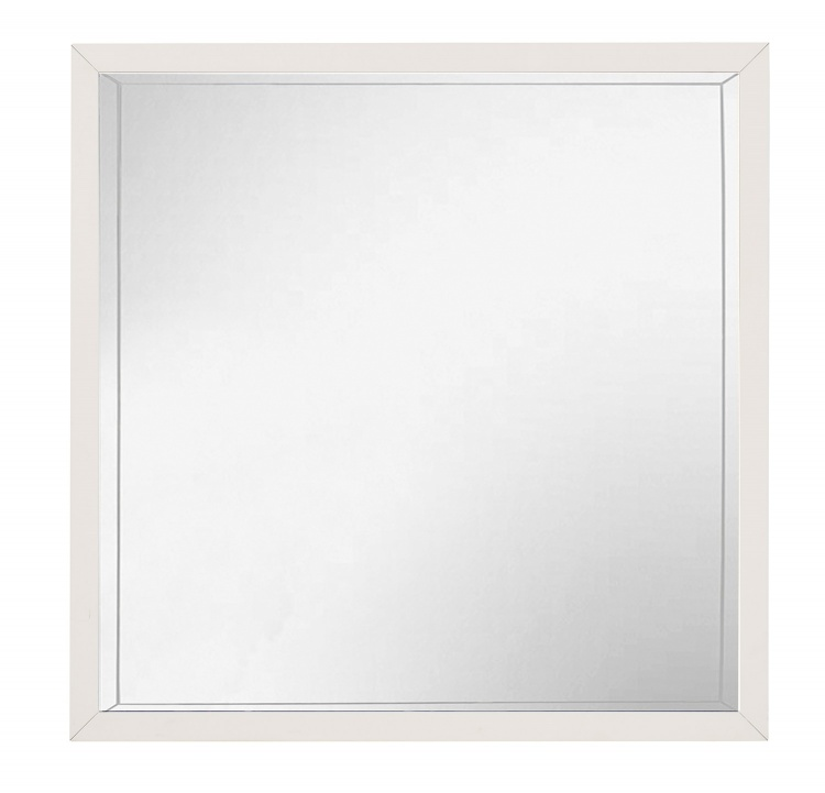 Renly Mirror - Natural Finish of Oak Veneer with White Framing
