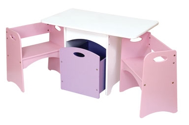 A Space of Her Own Table with Pastel Benches
