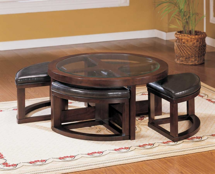 Brussel Round Cocktail Table with 4 Ottomans-Homelegance