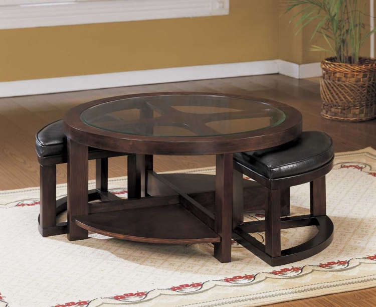 Brussel Round Cocktail Table with 2 Ottomans-Homelegance