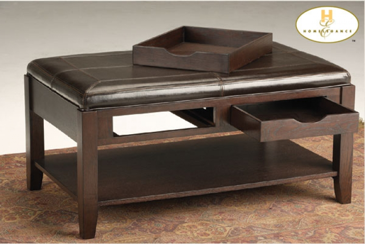 Frisco Bay Cocktail Ottoman Bi-Cast Leather-Homelegance