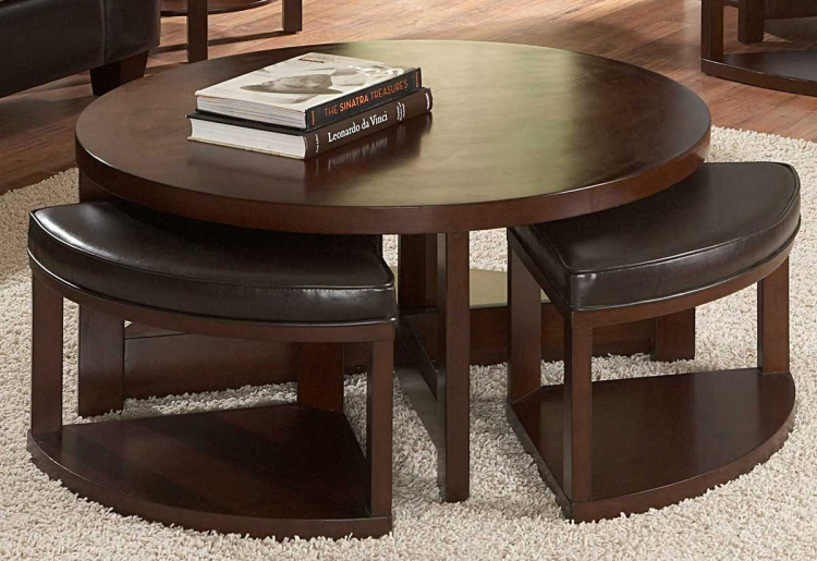 Brussel II Round Cocktail Table with 4 ottomans - Homelegance
