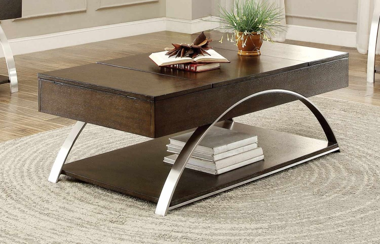 Tioga Cocktail Table with Lift-Top and Storage - Espresson