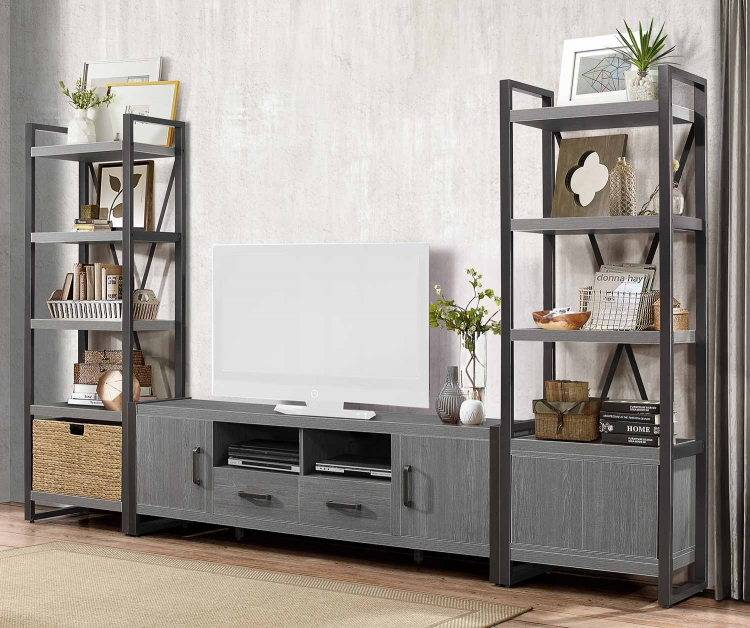 Dogue 76-inch Entertainment Center Set - Gunmetal - Gray