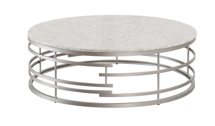 Brassica Large Round Cocktail/Coffee Table with Faux Marble Top - Silver - White Marble Top