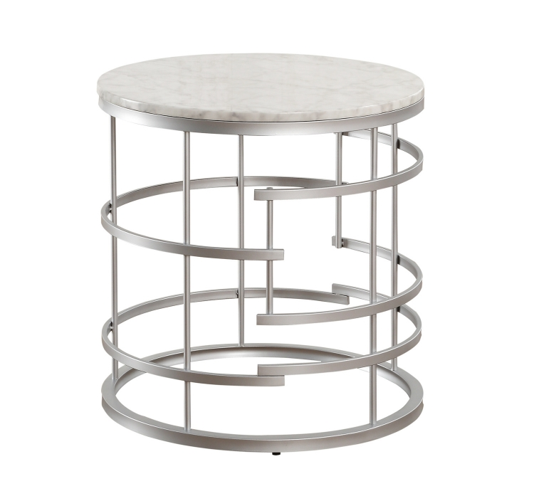 Brassica Round End Table with Faux Marble Top - Silver - White Marble Top