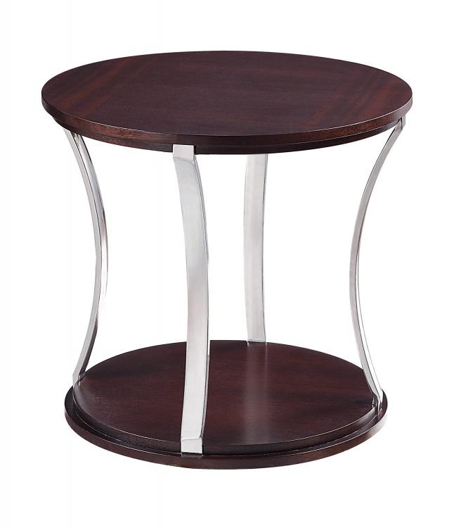 Bevan Round End Table - Dark Cherry