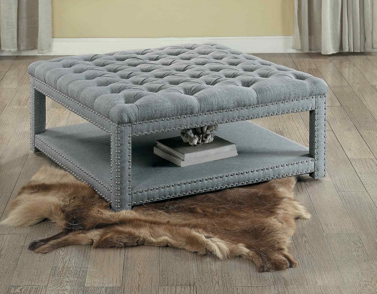 Allium Cocktail/Coffee Ottoman - Neutral Gray