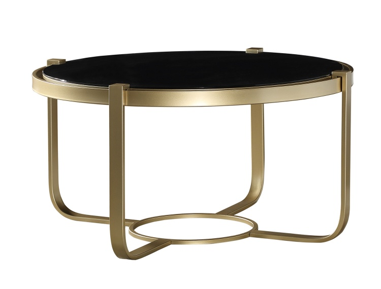 Caracal Round Cocktail Table with Black Glass Insert - Gold