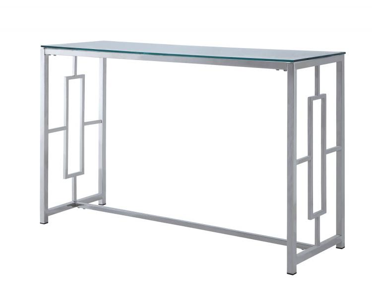 Yesenia Sofa Table with Glass Top - Chrome