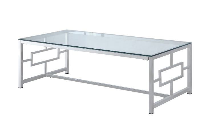 Yesenia Cocktail Table with Glass Top - Chrome