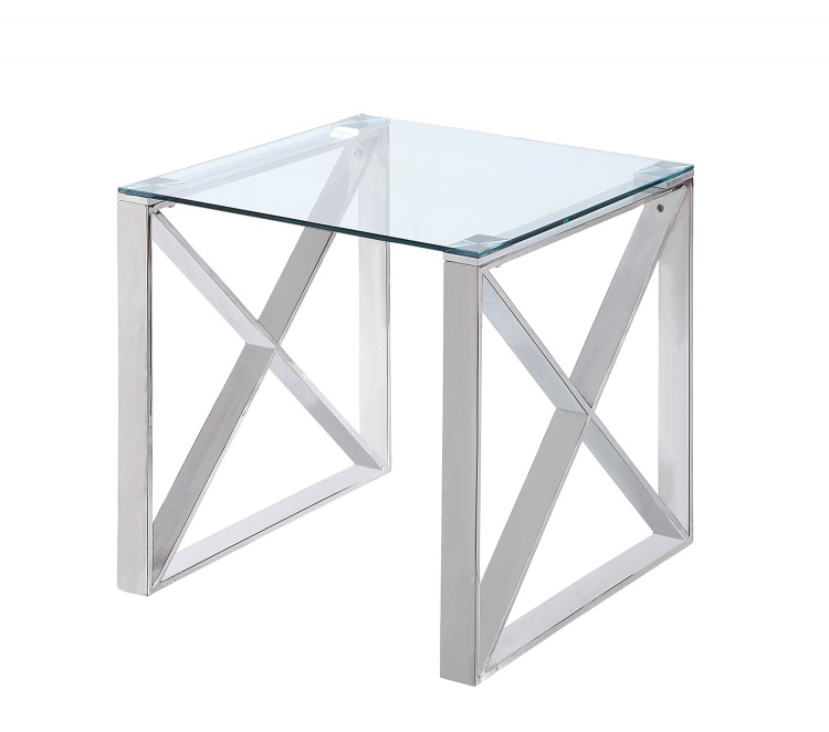 Rush End Table with Glass Top - Polished Chrome
