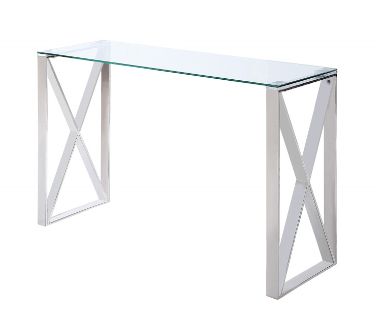 Rush Sofa Table with Glass Top - Polished Chrome