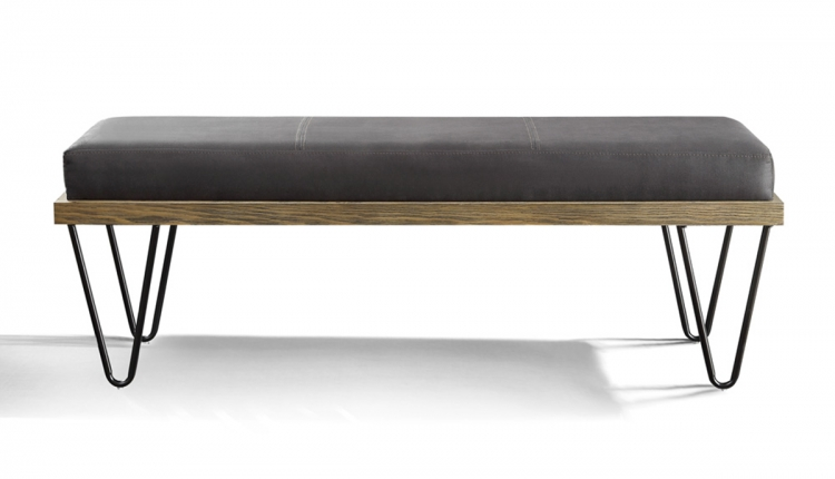 Metallo Bench - Wood Frame - Dark Metal Legs