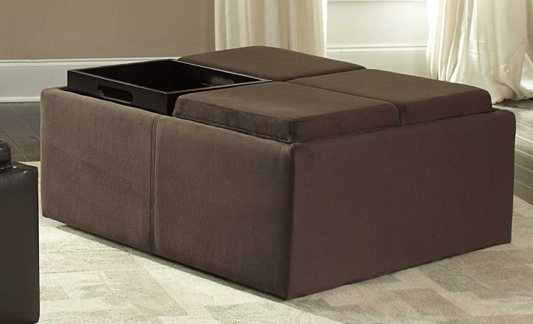 Kaitlyn Cocktail Ottoman in Microfiber - Homelegance