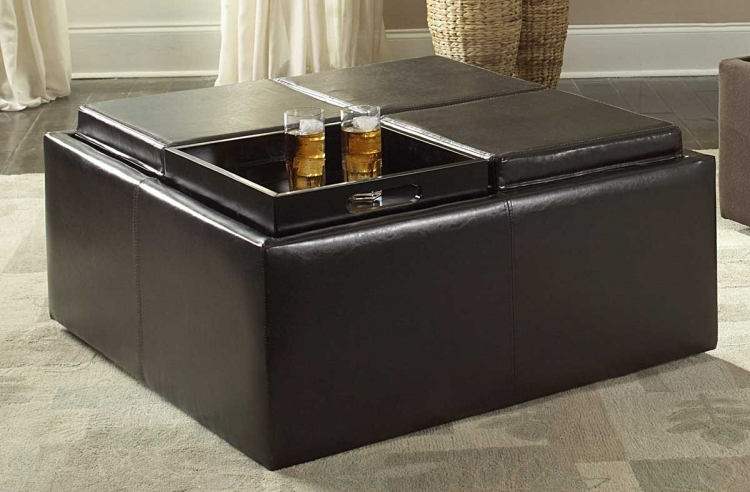 Kaitlyn Cocktail Ottoman in Bi-Cast Vinyl - Homelegance