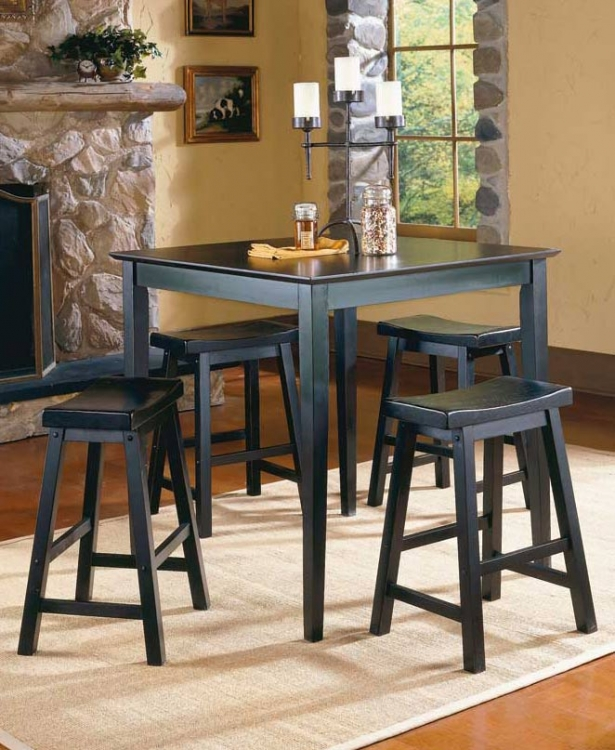 Saddleback 5 Pc Dinette Set in Black Finish-Homelegance