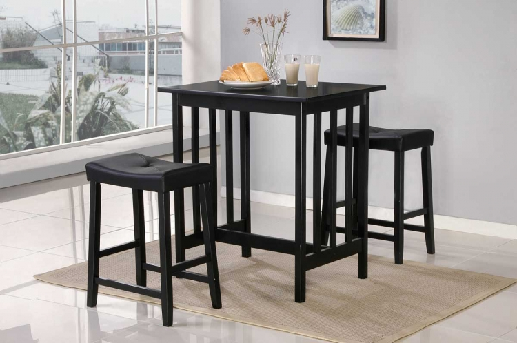 Scottsdale 3 Pc Dinette Set in Black Finish