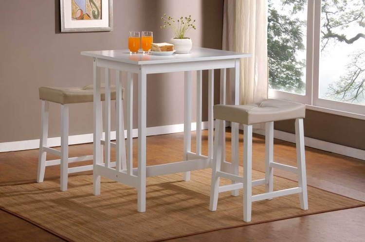 Scottsdale 3 Pc Dinette Set in White Finish-Homelegance