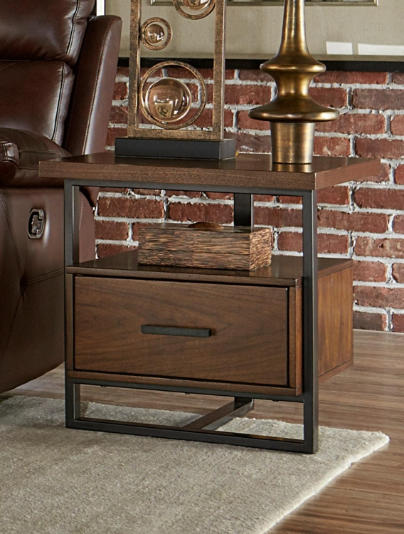 Sedley End Table with Functional Drawer - Walnut Veneer
