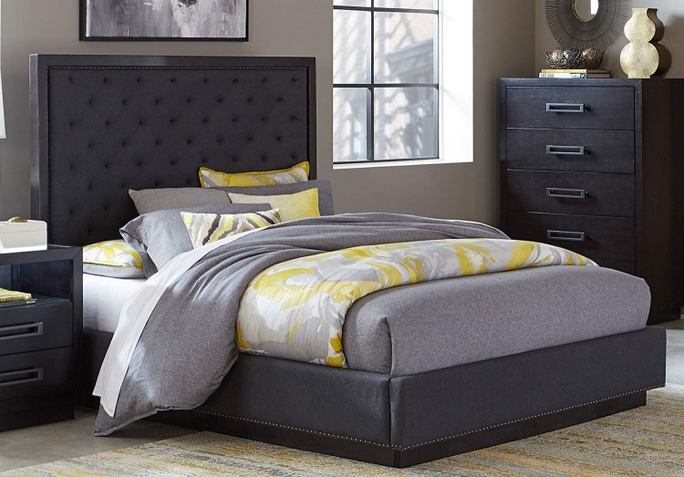 Larchmont Upholstered Bed - Charcoal Finish over Ash Veneer
