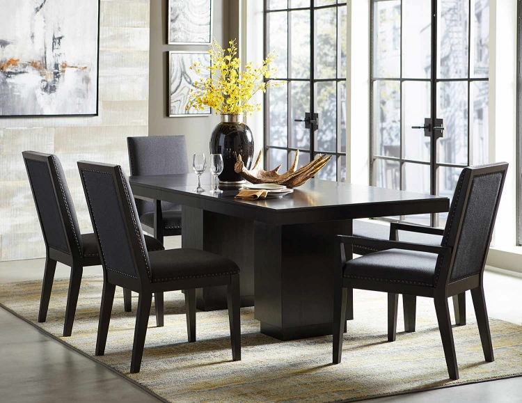 Larchmont Dining Set - Charcoal - Over Ash Veneer.