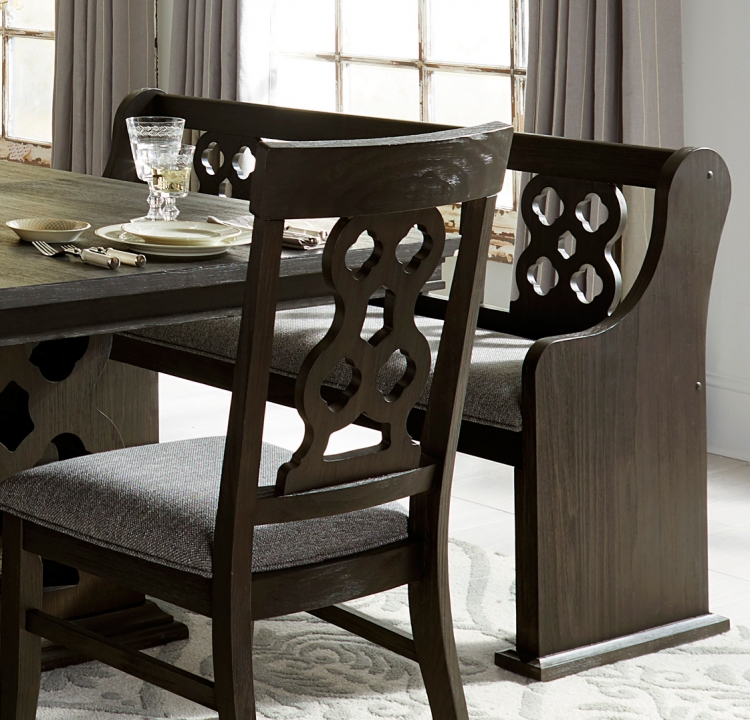 Arasina Bench and Curved Arms - Dark Pewter