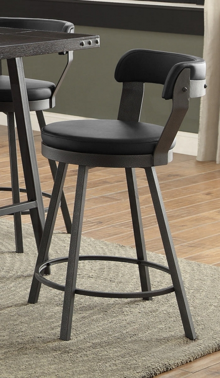 Appert Swivel Counter Height Chair - Black - Black Bi-Cast Vinyl