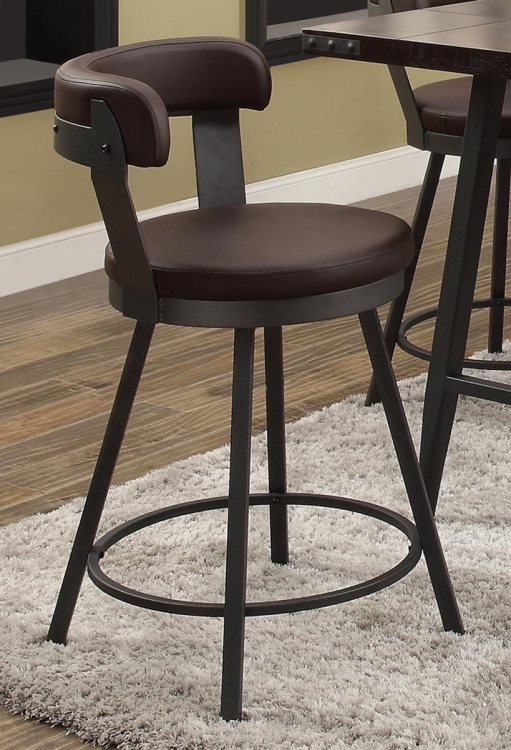 Appert Swivel Pub Height Chair - Brown - Black Bi-Cast Vinyl
