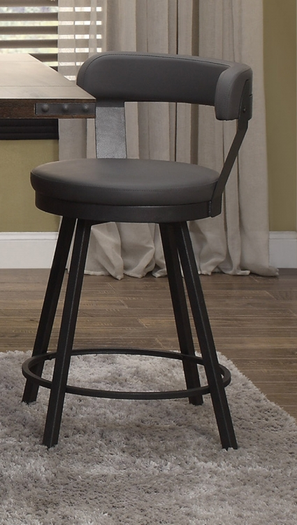 Appert Swivel Counter Height Chair - Grey - Black Bi-Cast Vinyl