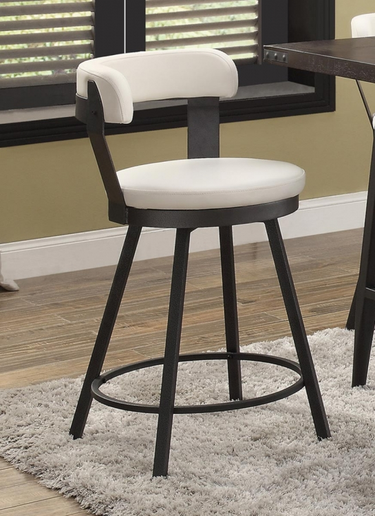 Appert Swivel Pub Height Chair - White - Black Bi-Cast Vinyl