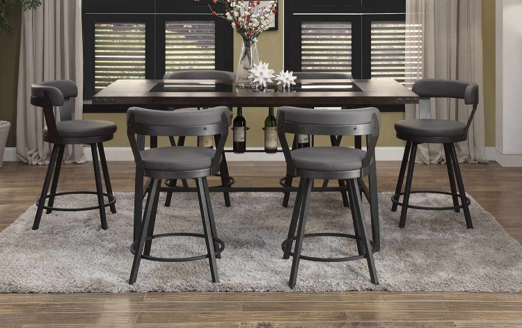 Appert Counter Height Dining Set - Grey - Black Bi-Cast Vinyl