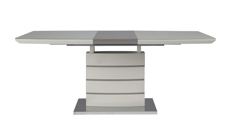 Glissand Dining Table - Gloss White - Grey-Taupe Bi-Cast Vinyl