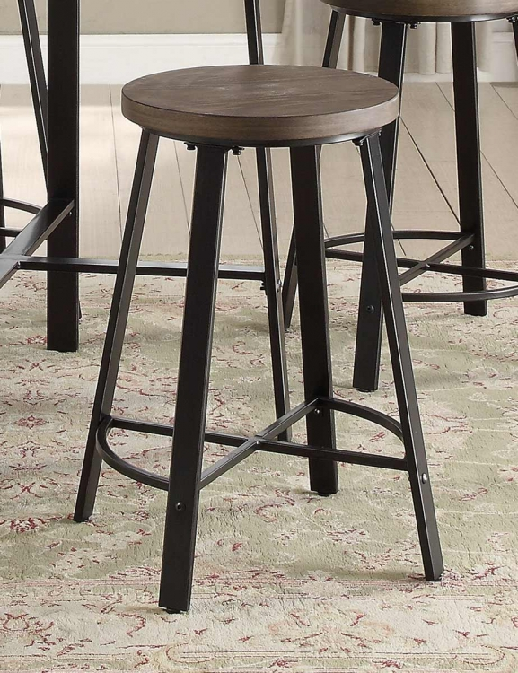 Chevre Counter Height Stool - Rustic - Gray Metal