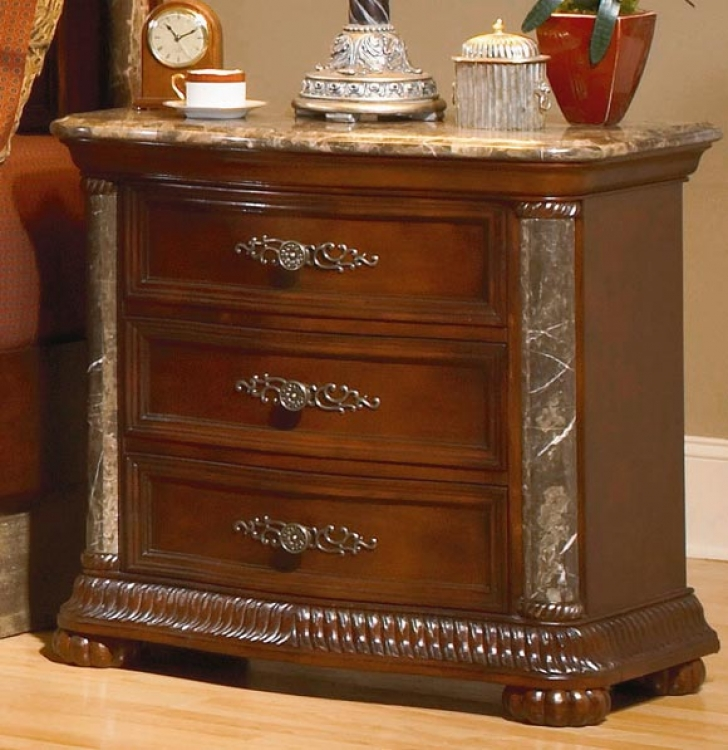 Catalina Night Stand Marble Top and Pilaster
