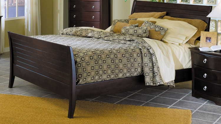 Syracuse Sleigh Bed with Wood Rails-Homelegance