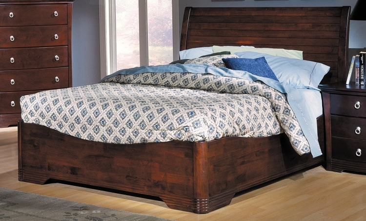 Syracuse Low Profile Bed with Wood Rails-Homelegance
