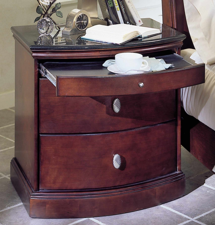 5th Avenue Night Stand with Solid Black Granite Top and Pull Out