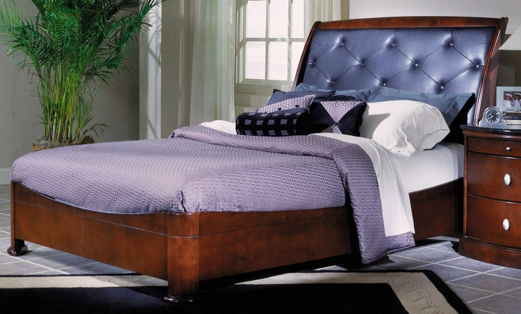 5th Avenue Leather Bed with Low Profile Footboard-Homelega