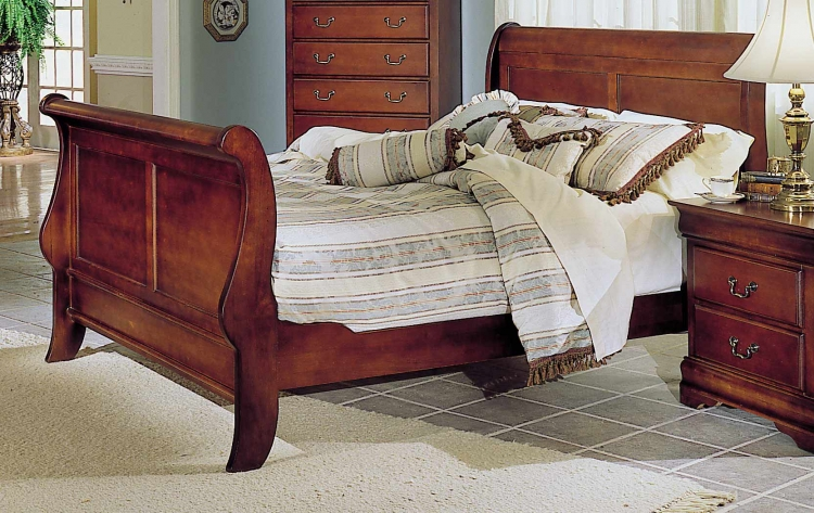Bastille Bed with Wood Rails
