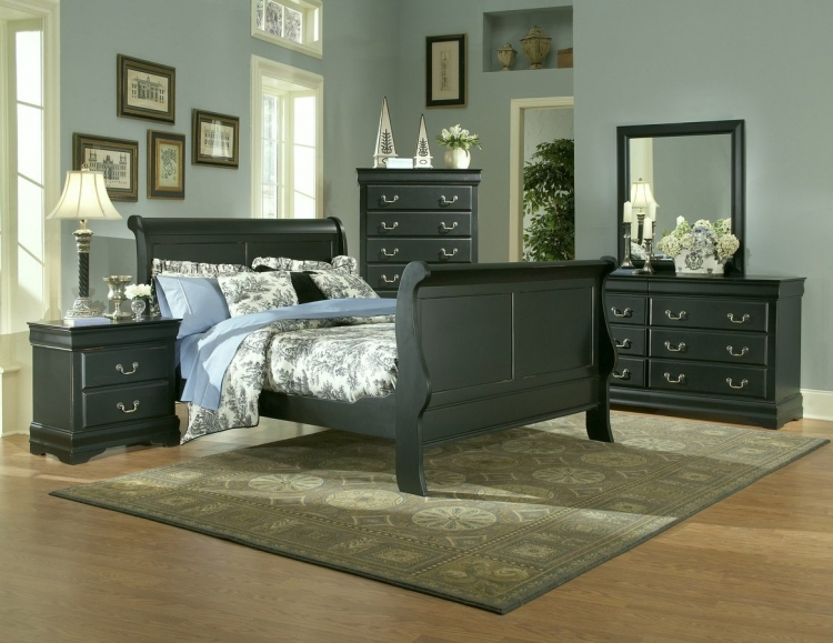 Bastille Bedroom Collection in Black Complete 6 pcs-Homelegance