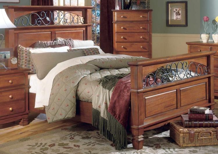 Lareto Bed with Wood Rails