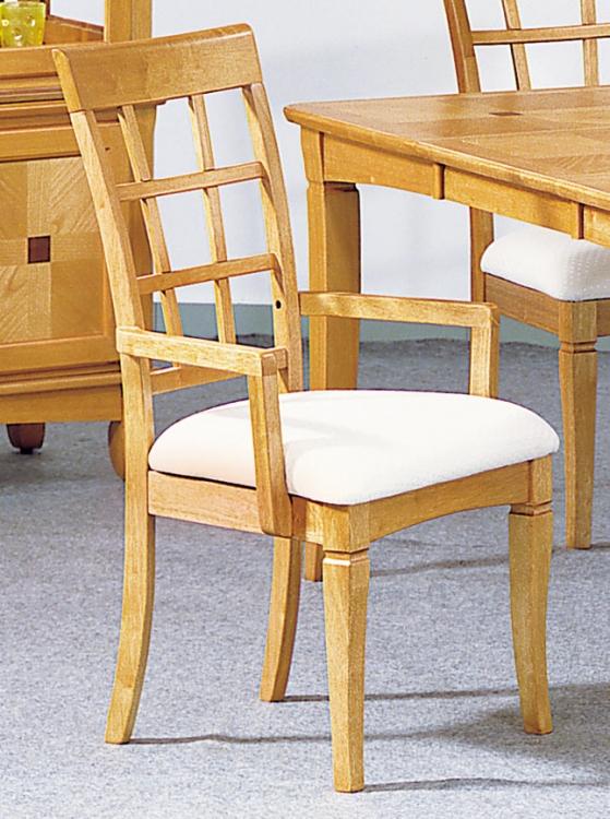 Ash Walnut Arm Chair with Window Frame Back