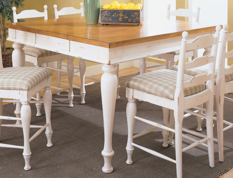 Casual Moments Pub Height Dining Table White Finish