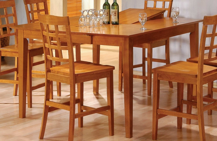Casual Counter Height Dining Table Oak