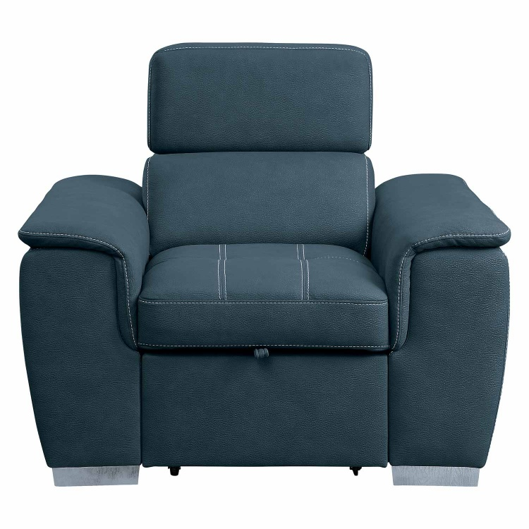 Ferriday Chair with Pull-out Ottoman - Blue
