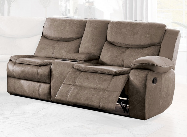Bastrop Right Side Double Reclining Love Seat with Center Console - Brown